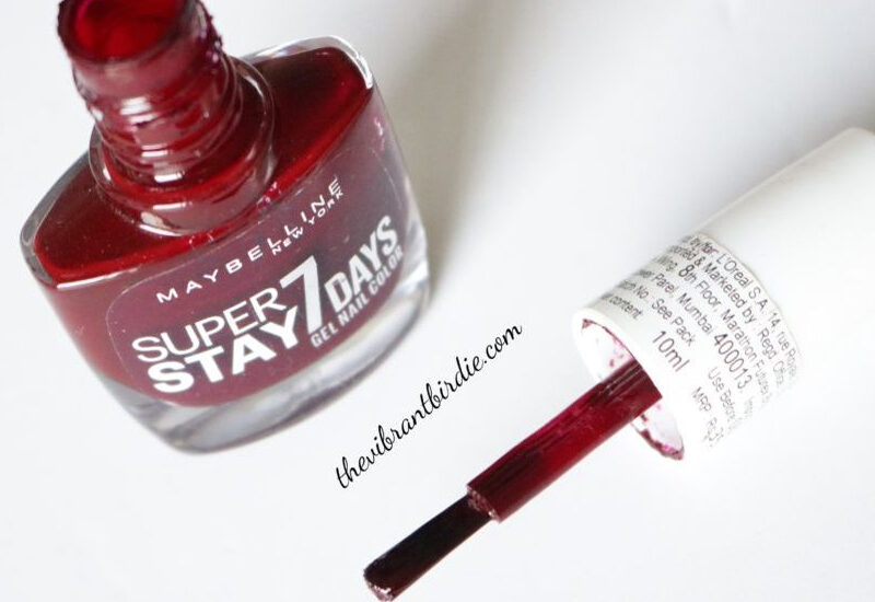 Maybelline Super Stay 7 Days Gel Nail Color in shade Midnight Red (287)- Reviews and Swatches