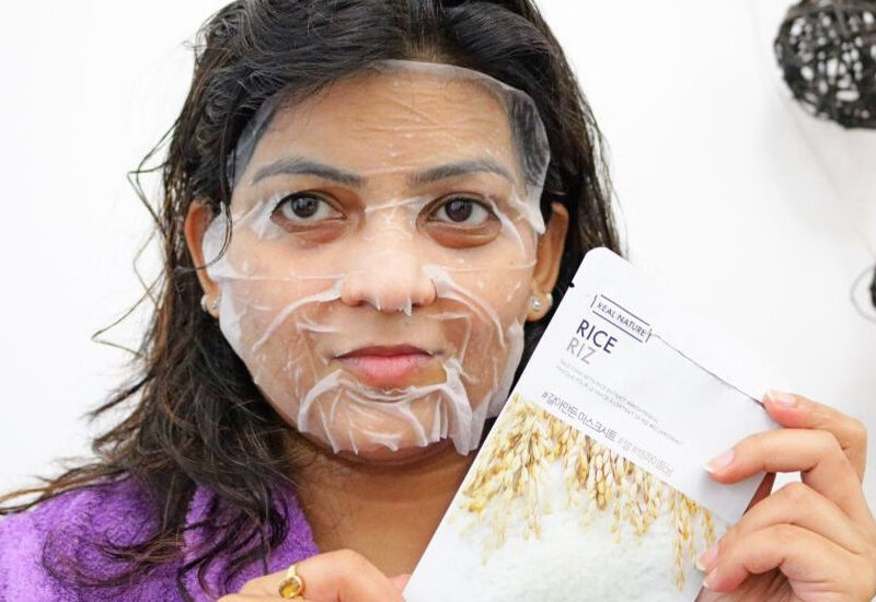 The Face Shop Real Nature Rice Brightening Sheet Mask- Reviews & Swatches